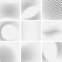 Set of dotted abstract forms. Grunge halftone vector background in black and white colors. Distressed overlay texture. Abstract pattern with circles, waves and swirls.