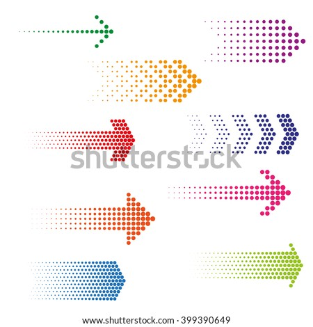 Set of dotted arrows. Halftone effect vector templates