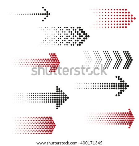 Set of dotted arrows. Halftone effect vector templates #400171345
