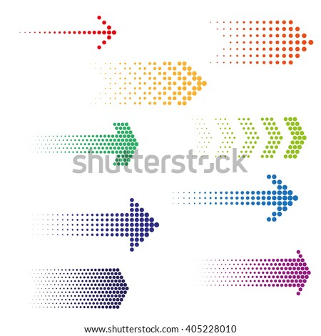 Set of dotted arrows. Halftone effect vector templates #405228010