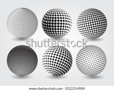 Set of dotted spheres.Vector halftone design elements.