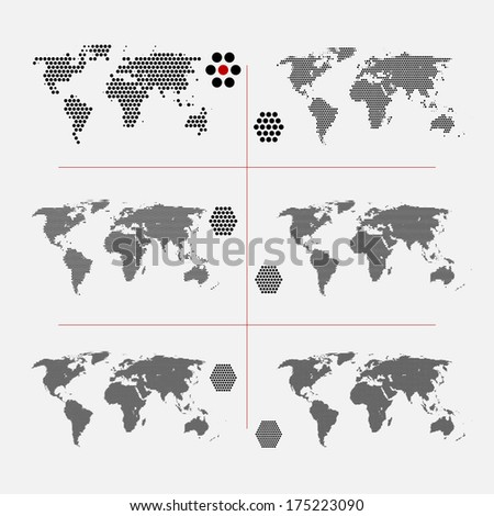 set of dotted world maps in