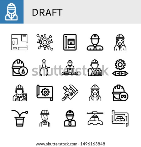 Set of draft icons such as Engineer, Blueprint, Engineering, Caliper, Architect, Draft, Beer pong, Manufacturer , draft