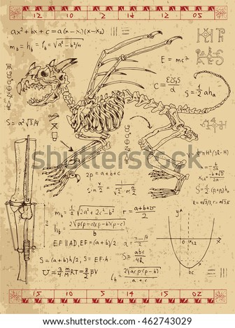 set of drawings with skeleton