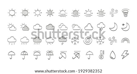 Set of drawn black Weather icons. Weathers icons. Weather vector icons. Weather forecast sign symbols. Weathers signs. Vector illustration