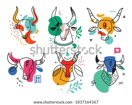 Set of drawn bull's. Abstract contemporary modern trendy vector illustration. Every pattern is isolated new year 2021