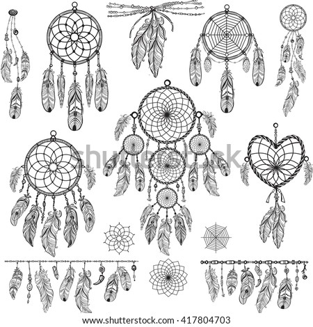 Vector Images Illustrations And Cliparts Set Of Dreamcatchers Mesmerizing Dream Catcher Design Patterns
