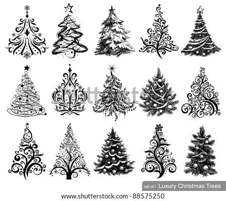 set of dreawn christmas trees
