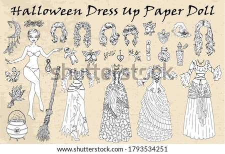 set of dress up paper doll with