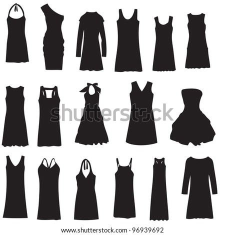 set of dresses isolated on
