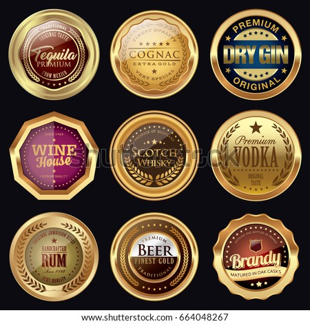Set of drink badges. Golden icons. #664048267