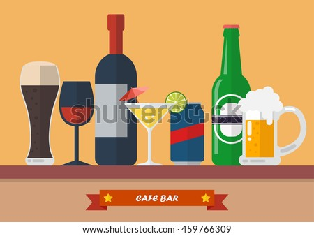 set of drink bar flat icon