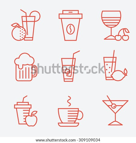 set of drinks icons  flat...