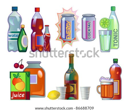 Set of drinks in bottles and cans