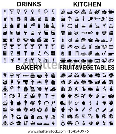 Set of drinks, kitchen, bakery and fruit and vegetables icons