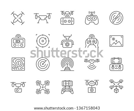set of drone line icons fast