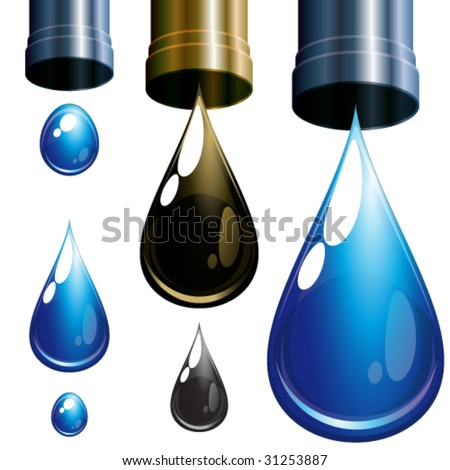 Set  of drops. Water and oil.