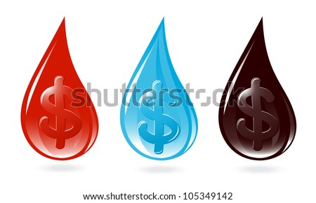 Set of drops with dollar sign