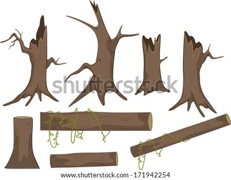 set of dry trees cartoon