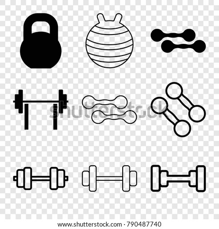 Set of 9 dumbbell filled and outline icons such as barbell, dumbbell