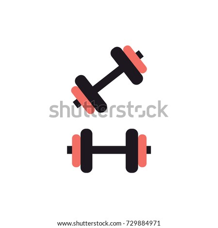Set of dumbbell icons isolated on white. Sport equipment. Flat vector illustration.