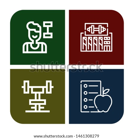 Set of dumbbells icons such as Fitness, Gym, Diet , dumbbells