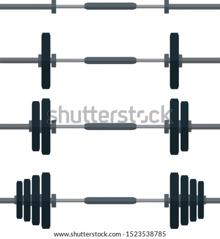 Set of dumbbells with weights. Sports equipment of weightlifter. Round discs on the rod. Element of gym. Cartoon flat illustration