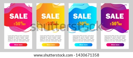 Set of dynamic abstarct geometric liquid shapes.Colorful sale banner template. Modern design covers on grey background for website, presentations or mobille apps. vector eps10