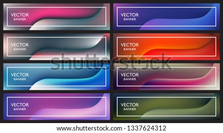 Set of dynamic colorful web banners for website or blog. 1200 x 300 px size.