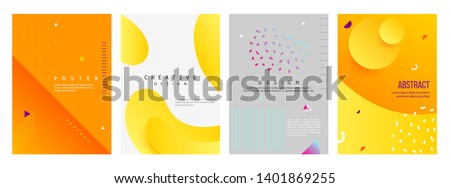 Set of dynamic 3D style A4 size poster design concept. Fluid elements with bright gradient. Creative illustration for banner, web, landing, page, cover, ad, greeting, card, promotion, print.
