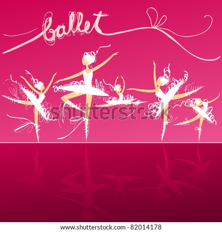 set of dynamic doodle ballet dancers on a stage