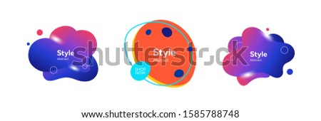 Set of dynamical colored figures in free shape. Design template for logo, flyer or presentation. Abstract form dynamic composition. Modern style vector illustration