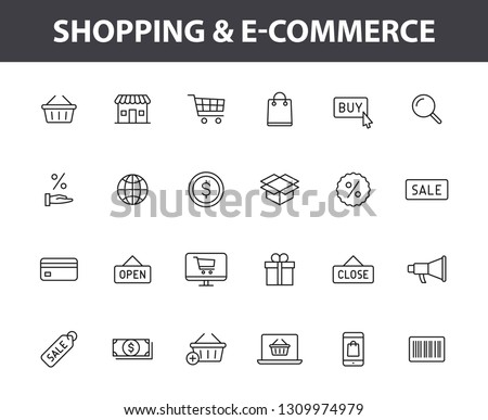 Set of 24 E-commerce and shopping web icons in line style. Mobile Shop, Digital marketing, Bank Card, Gifts. Vector illustration