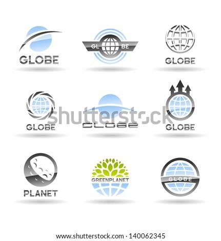 Set of Earth globe icons.