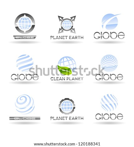 Set of Earth globe icons. Vol 2.