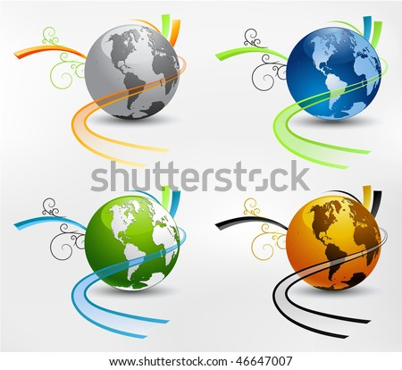 set of earth globes in different color designs. Concepts for transportation and ecology.