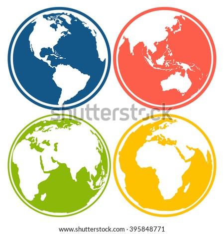 set of earth planet globe logo