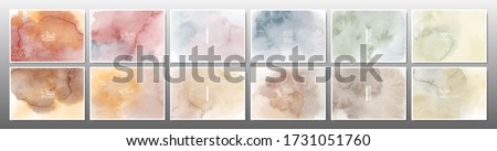 Set of earth tone watercolor background. Stain artistic hand-painted vector, template design for banner, poster, card, cover, brochure. ストックフォト ©