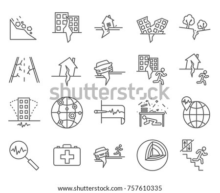 Set of earthquake Related Vector Line Icons. Includes such Icons as natural disaster, destruction and etc.