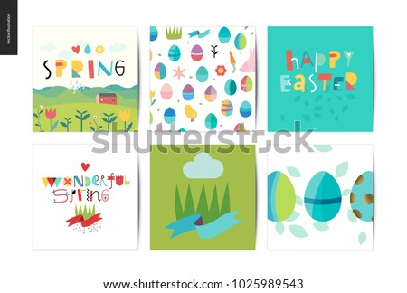 set of easter and spring