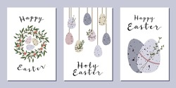 Set of Easter cards. Cute easter egg, nest, branch and leaves. Eco decoration. Vector flat cartoon illustration. Perfect for poster, print, card, invitation, greeting, tag