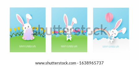 set of easter day greeting card