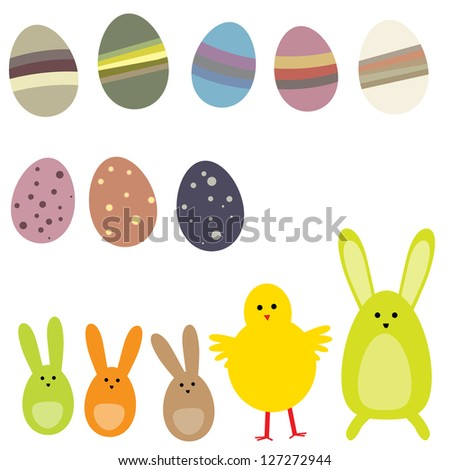 Set of easter eggs and rabbit for your projects