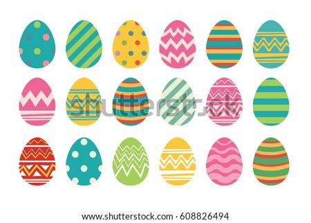 set of easter eggs flat design