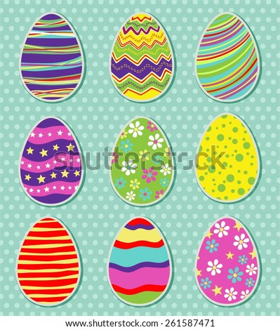 Set of easter eggs isolated