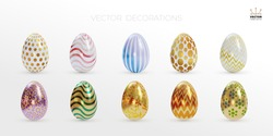 Set of easter eggs. Lined up with different colors and patterns. White and golden colored. Realistic design elements. Vector illustration. Isolated on white background.