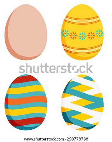 set of 4 easter eggs   1 plain