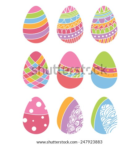 Set of Easter eggs. Vector #247923883