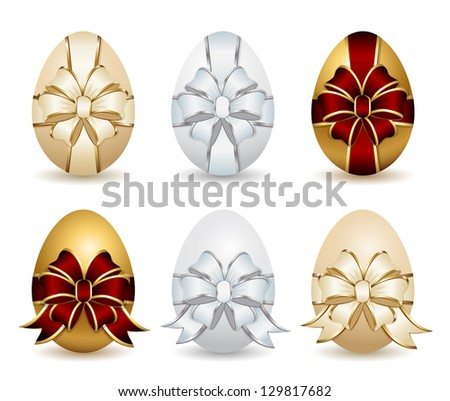 Set of Easter eggs with decorative ribbon and bow, illustration.