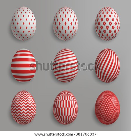 set of easter eggs with various